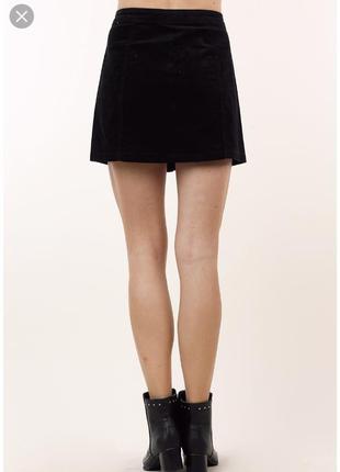 Вельветовая чёрная юбка с карманами обманками размер 14