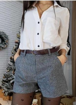 Стильные женские  шорты высокая посадка,  цвет серый