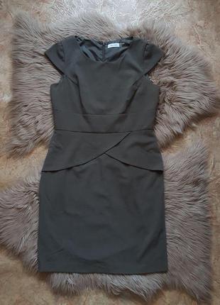 Оливковое приталенное платье calvin klein,женское офисное платье,кельвин кляйн