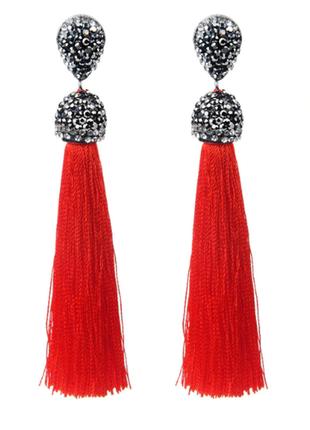 Модные серьги кисти красные код 1592