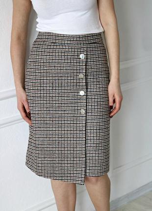 Теплая юбка в клетку от французского бренда   cache cache