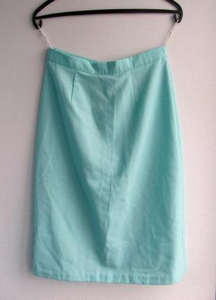 Мятная юбка-миди завышенная талия