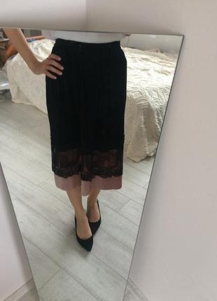 Бархатная юбка миди