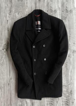 Мужские черные двубортное шерстяное пальто angelo litrico