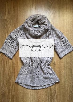 Невероятной красоты свитер с хомутом и коротким рукавом