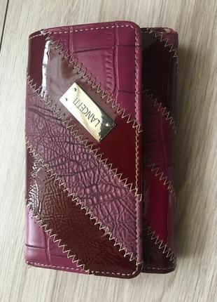 Кожаный кошелек   бренд  lancetti  марсала