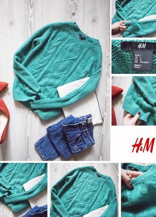 Изумрудный свитер с мохером h&m