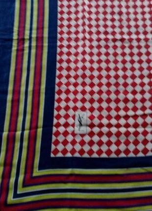 Ysl винтажный шёлковый платок,шов роуль,82*87 см.