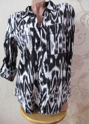 Рубашка в принт/белый/черный/100% лен
