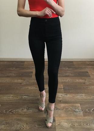 Чёрные джинсы скини на высокой посадке new look