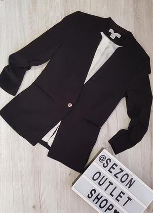 Черный жакет с рукавом три четверти hm xs,черный базовый класический кежуал жакет 0427969