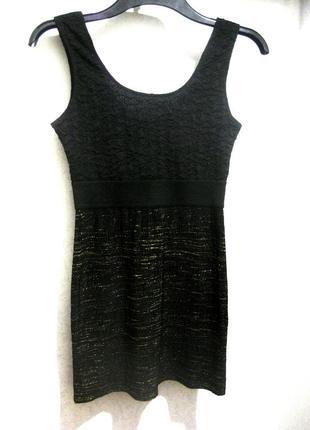 Мини платье h&m облегающее чёрное стрейч обтягивающее с золотыми нитками фактурное