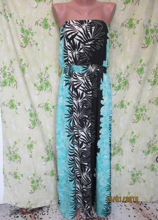 Яркий воздушный летний сарафан/платье в пол большой размер uk 18/наш 52/принт