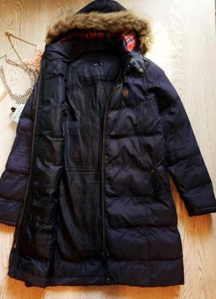 Синий длинный зимний пуховик куртка пальто с капюшоном и мехом батал большой размер