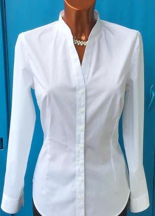 Белоснежная фирменная, приталенный рубашка от zero