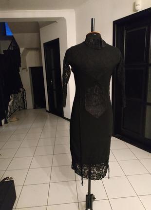 Чёрное платье миди кружево гипюр бархат бельевой стиль италия