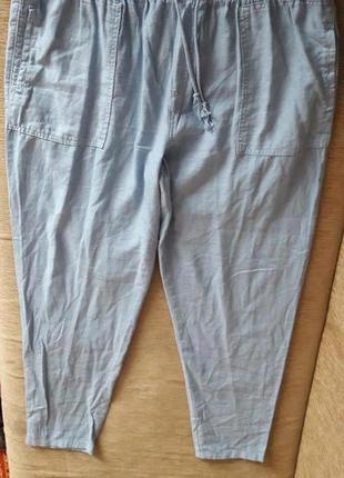 Льняные штаны джогеры зауженые 56-58