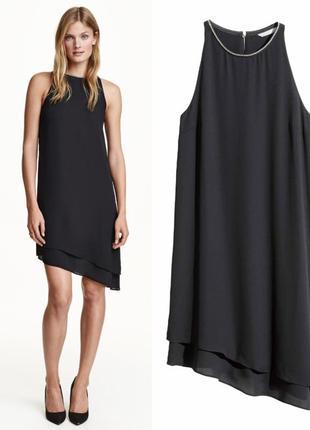 Шифоновое черное платье без рукавов с асиметричным низом hm xs