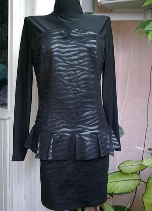 Эффектное платье с баской с-м