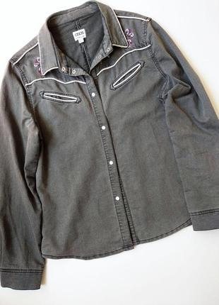 Коттоновая серая рубашка с вышивкой размер xl asos