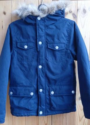 Теплая темносиняя деми куртка для мальчика 9-10 лет, 140 см, cherokee