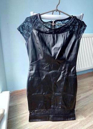 Плаття кожане коротке