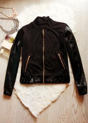 Новая черная куртка бомбер на молнии и с кожаными рукавами и карманами без воротника