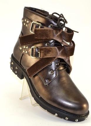 Стильные молодёжные коричневые ботинки 36-41р с шипами бантами низкий каблук демисезон