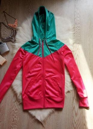 Розовая с бирюзовым куртка с капюшоном олимпийка на молнии с капюшоном ветровка на флисе