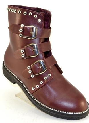 Стильные бордовые демисезонные ботинки 36 37 с пряжками низкий каблук