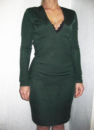 Платье h&m изумрудное зелёное облегающее обтягивающее с рукавом