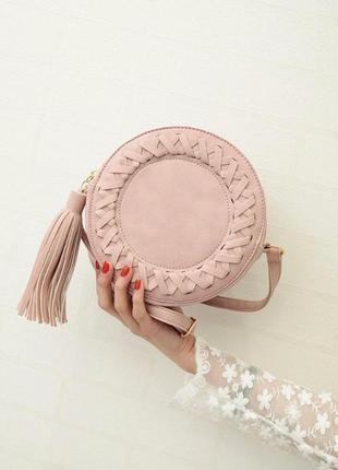 Красивая вместительная сумочка на длинной ручке, цвет пудра