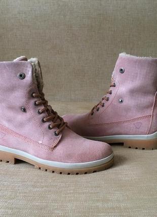Утеплённые замшевые ботинки tamaris, сапоги, чоботи, 38-39 р.