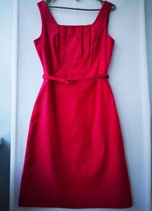 Льняное малиновое платье с подкладом