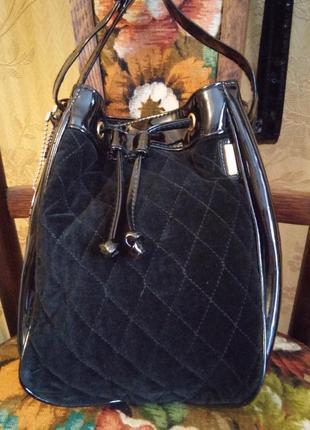 Стеганая сумка-мешок с лаковыми вставками picard