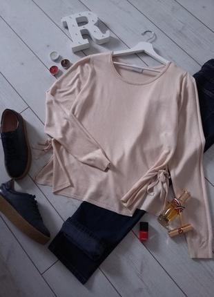 Милый мягенький свитер на боковых завязках vila