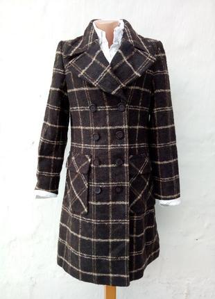 Трендовое теплое шерстяное пальто в клетку,накладные карманы,букле,классическое,мохер.