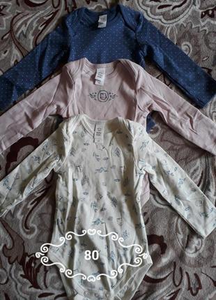 Комплект бодиков на длинных рукав 9-12 мес5