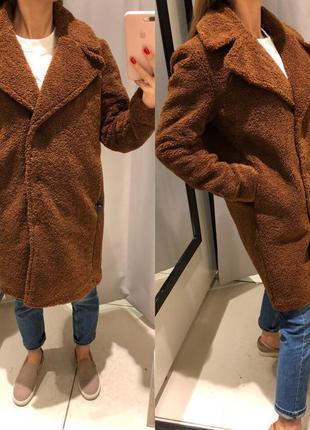 Тёплая плюшевая коричневая шуба меховое пальто teddy coat reserved размер m