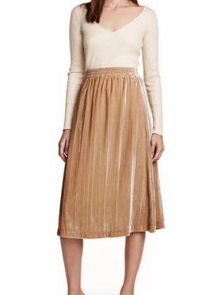 Юбка плиссе h&m, бежевая плиссированная юбка миди, золотистая, велюровая, бархатная юбка