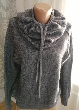 Тёплая кофта свитер шерстяной серого цвета
