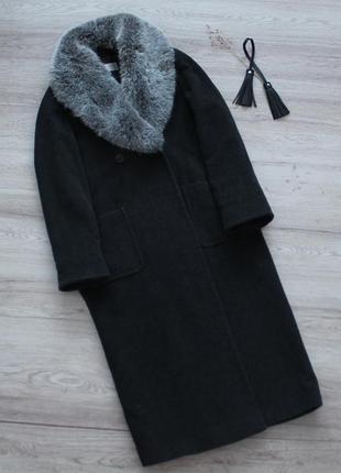Длинное шерстяное двубортное пальто оверсайз