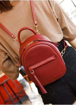 Маленький компактный бордово-красный рюкзак