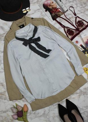 Обнова! рубашка блуза в горох с бантом галстуком с рушами mango