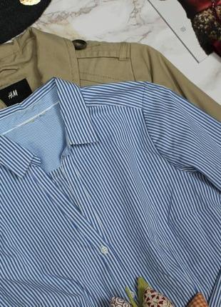 Обнова! рубашка классика приталенная в полоску бело голубая качество h&m2 фото