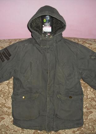 Демисезонная курточка парка утепленная мехом