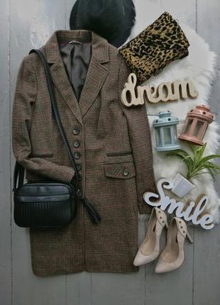 Актуальное пальто в гусиную лапку с шерстью