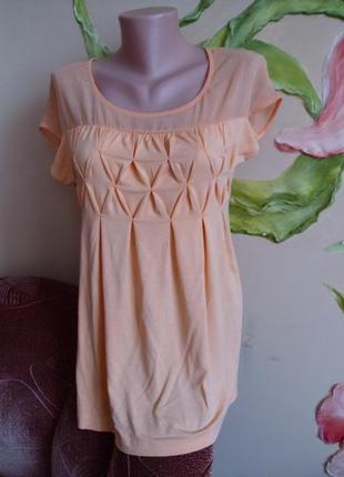 Блузка оранжевая трикотажная с шифоном р.48