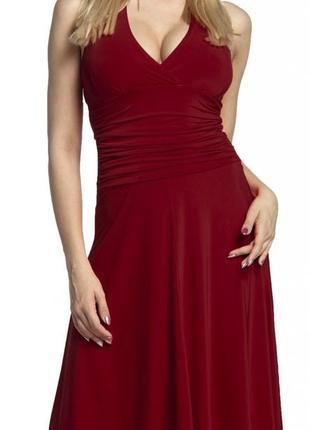 Красное алое бордо платье миди с открытой спиной