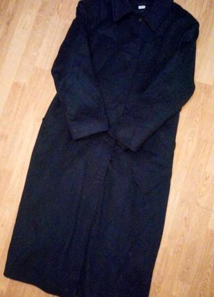 Темно синее пальто длинное отстегивается теплая подкладка большое батал классическое